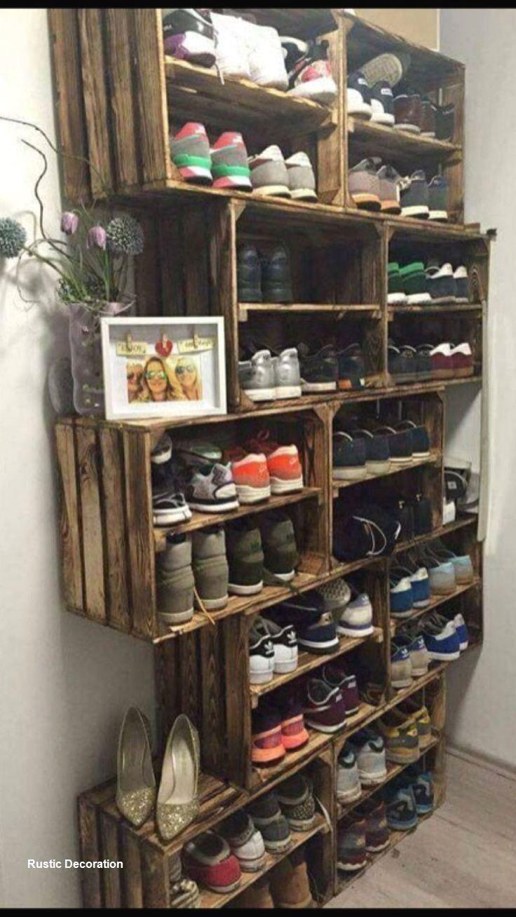 Rustic Diy Storage Ideas In 2020 Diy Shoe Storage Diy Shoe Rack Shoe Organization Diy