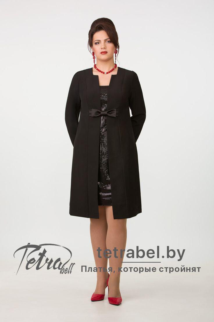 Элегантное платье из классической костюмной ткани с вертикальной вставкой по центру изделия из трикотажа, расшитого пайетками, создающей имитацию двухслойного наряда. Вечерние платья больших размеров от tetrabel.by. Вечерние платья больших размеров оптом. #ВечерниеПлатьяДляПолных #КрасивыеПлатьяБольшихРазмеров