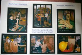 "Involving children in documenting their learning - this display panel was created for the children & placed in the block area. Antechdotal notes from this time reveal that children often referred to the photographs & tried to recreate earlier constructions based on the photos ("",)"
