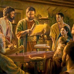 Des chrétiens du Ier siècle lisant une lettre du collège central