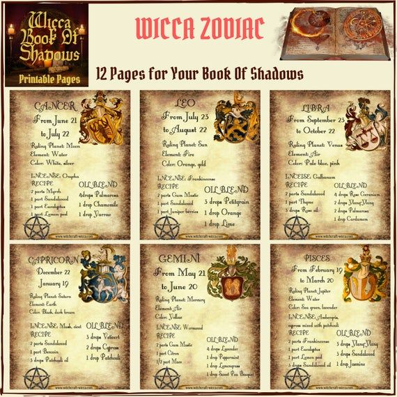Wiccan Zodiac Essential Oil Blends Incense Recipes Astrology Gift Book Of Shadow Pdf Essential Oil Blends Book Of Shadows Pdf Wiccan