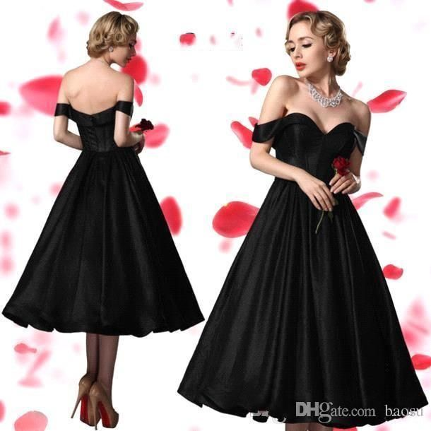 2015 Fashion Black 1950s Prom Dresses Off Shoulders Ball Gown Tea Length Evening Gowns Cheap Formal Dress For Women Custom Made 726 Prom Dress Patterns Prom Dress Shops Uk From Baosu, $123.57| Dhgate.Com