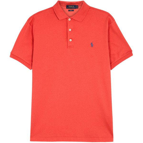 Polo Ralph Lauren Red Slim Pima Cotton Polo Shirt - Size L ($96) ❤ liked on Polyvore featuring men's fashion, men's clothing, men's shirts, men's polos, polo ralph lauren mens shirts, mens slim shirts, mens embroidered shirts, mens red shirt and mens slim fit shirts