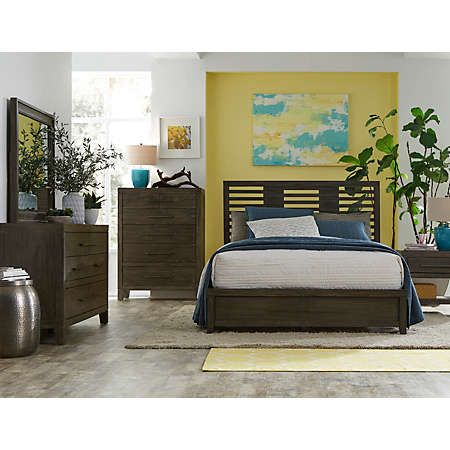 casual style bedroom group made in a smoked oak finish start your day off on the right foot with a bedroom collection that reflects your style