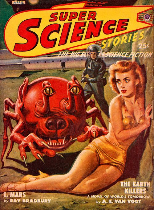 Super Science Stories pulp sci-fi magazine, art by Lawrence Sterne Stevens