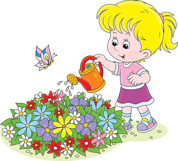 浇花的卡通女孩