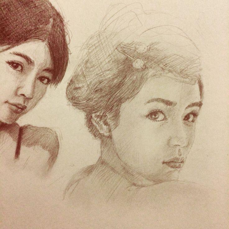 Portrait sketch drawing on moleskine sketchbook by Vincent Joe Dango.