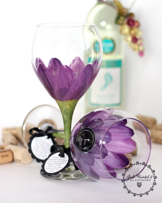 $48 set of two huge red violet 20oz hand painted wine glasses by Judi Painted it offer a wide range of colors, designs and FREE personalization on all orders. WHOLESALE pricing available for large orders. All glassware is hand painted with enamel paint followed by a clear coat for extra durability and baked on making them dishwasher safe. View and place orders at www.JudiPaintedit.etsy.com or www.JudiPaintedit.com
