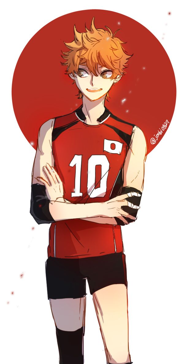 Haikyuu 히나타 국대버전!^0^)9---> what team is he supposed to be on in that uniform?<----- team japan, the national team