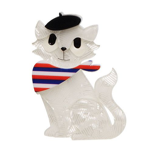 Farrah the French Kitty (Erstwilder White Resin Cat Brooch), now available. Hand assembled and hand painted, presented in a branded box.