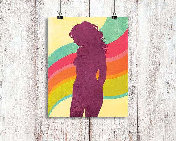 Retro nude silhouette, digital illustration 8x10 inch 'I'll follow the sun' pink, orange, lime ,blue, aubergine