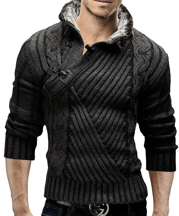 Merish Strickpullover Pullover Fellkragen Strickjacke Hoodie Slim Fit Herren 548 Anthrazit S