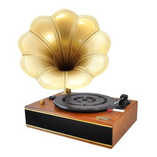 The Pyle PNGTT turntable system combines yesterday's classic record playing gramophone style with today's latest technology. Built-in Bluetooth and full range stereo speakers allow you to wirelessly s