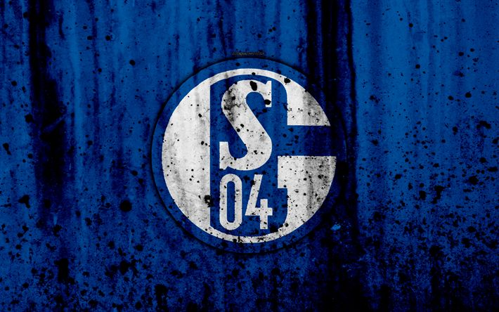 Download wallpapers FC Schalke 04, 4k, logo, Bundesliga, stone texture, Germany, Schalke 04, soccer, football club, Schalke 04 FC