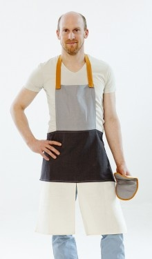 Happy Kitchen Apron, linen/cotton