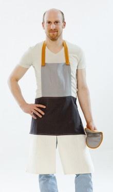 Happy Kitchen Apron, linen/cotton