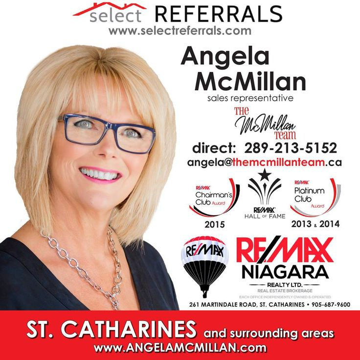 If you have clients looking to buy or sell real estate in St. Catharines, Niagara Falls, Niagara-on-the-Lake, Welland, Grimsby, Jordan or anywhere in the Niagara Region, talk to RE/MAX Select Referrals Team Member Angela McMillan first. Angela and her team are experienced and knowledgeable and welcome your referrals. Contact Angela direct at: 289-213-5152 or via our website at www.selectreferrals.com #selectreferrals #remax #stcatharines #niagara