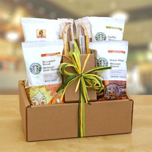 """Starbucks Sampler""  Warm conversation and enjoying small moments of peace during a busy day - This is what the Starbucks coffee and biscotti gift box is meant for. Slow down for a cup of soul-soothing Starbucks Coffee: Breakfast Blend, House Blend, Caffe Verona or Sumatra, complimented with a sweet bite of biscotti. A perfect gift for that favorite colleague, client or teacher. They will appreciate your thoughtfulness."