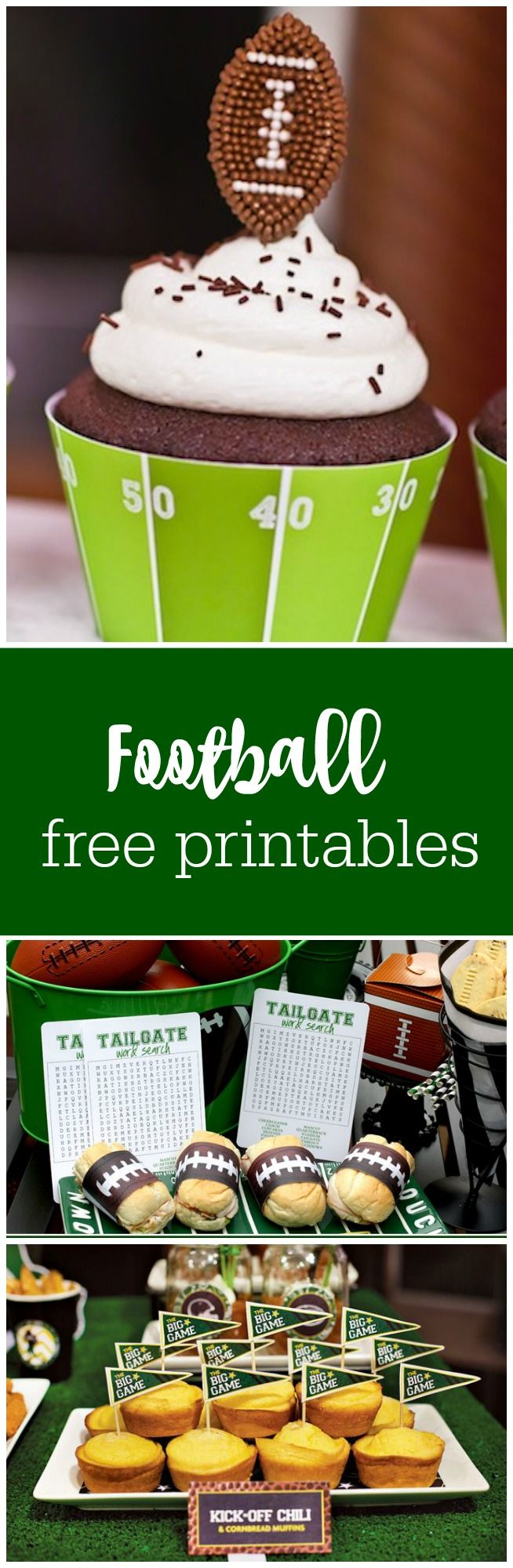 Football and tailgating free printables curated by The Party Teacher | http://thepartyteacher.com/2013/02/01/freebie-friday-free-football-printables/