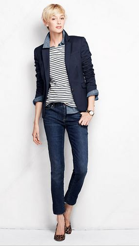 Denim, stripes, blazer. Capped off with a leopard pump. Lands End Low Rise Slim Leg Jeans - Medium Indigo Wash.