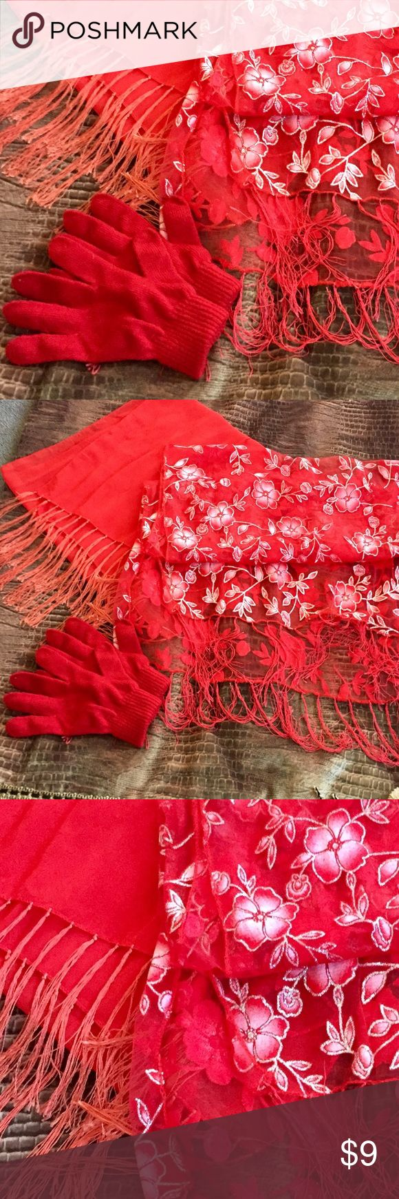Red scarves ♨️ To read sheer scarves. The flower one measures 60 inches. The Red chair one measures 50 inches. The gloves are included free. 💋 Accessories Scarves & Wraps