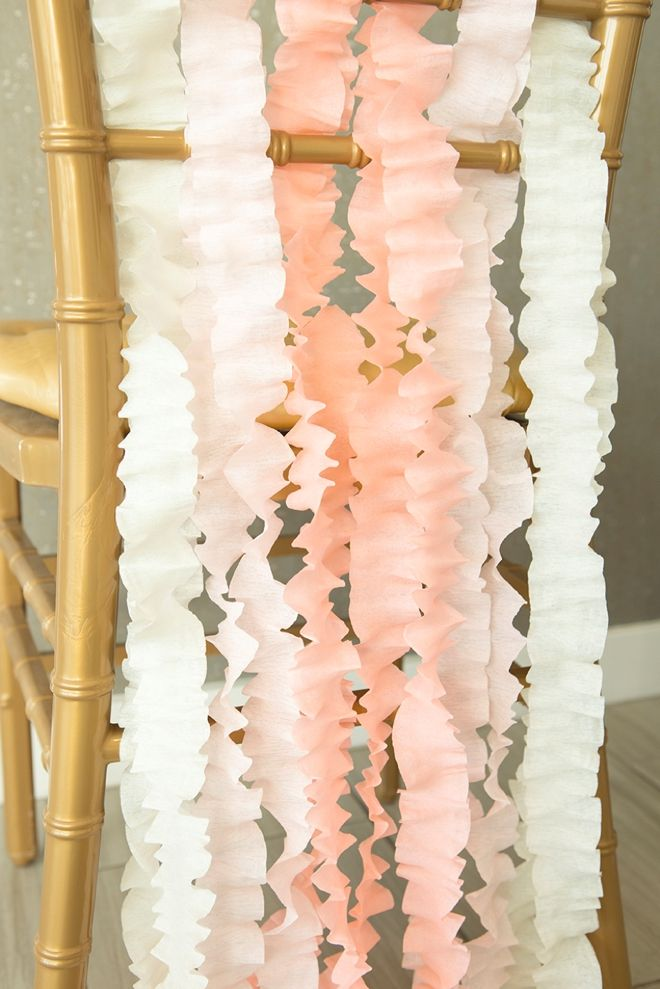 159 best wedding reception chairs images on pinterest wedding learn how easily you can make this chic wedding chair decor out of just crepe paper junglespirit Image collections
