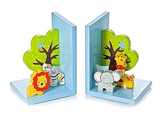 3D Safari Wooden Children's Animal Bookends Boys Girls Nursery Bedroom in Home, Furniture & DIY, Home Decor, Bookends   eBay