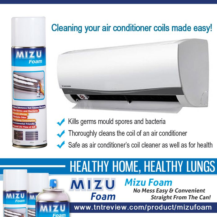 Cleaning your air conditioner coils made easy! - Kills germs mould spores and bacteria - Thoroughly cleans the coil of an air conditioner - Safe as air conditioner's coil cleaner as well as for health. For more information, http://bit.ly/1Qp1hxt  Authorized retailer of Mizu Foam in Australia. To order, please visit our website at http://tntreview.com/product/mizufoam/. Free shipping in Australia.  #MizuFoam #MizuFoamAirconditionerCleaner #Aircleaner #Aircon #MizuFoamAustralia