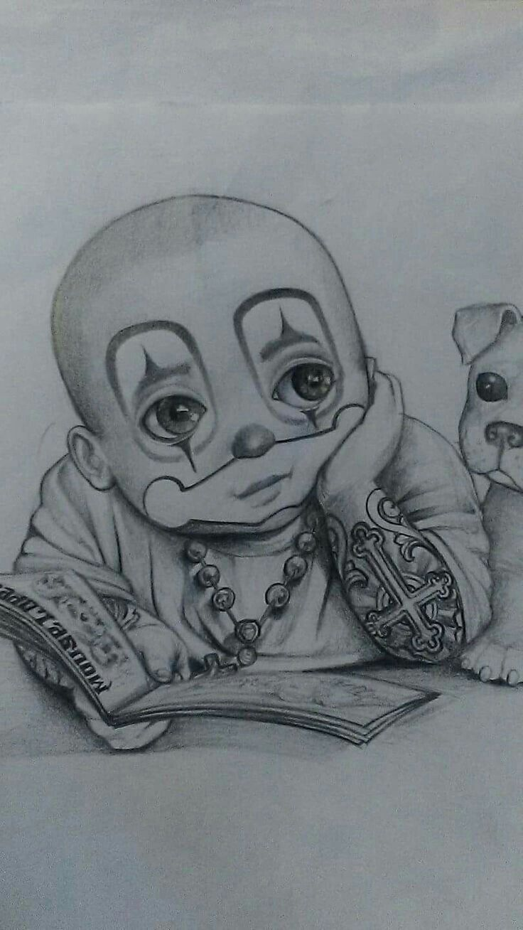Gangster Clown Tattoo Drawings
