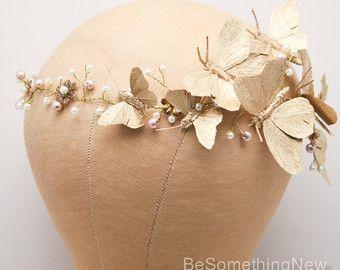 Oro corona de boda rústica bohemio novia corona casco de oro