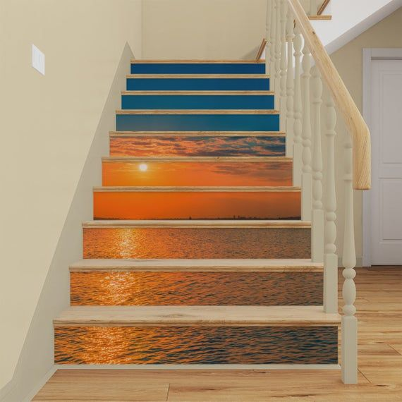 Beach Sunset Stair Riser Decals Stair Riser Vinyl Strips Ocean Staircase Mural Sticker Stairway Removable Wallpaper Peel And Stick In 2020 Stair Riser Decals Stair Riser Vinyl Diy Stairs