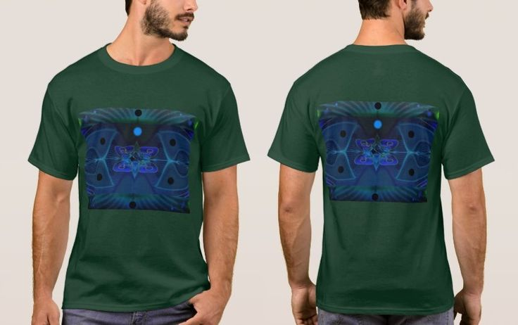 Forest Green Men's T-shirt with Digital Image 'Spaceship Interior'