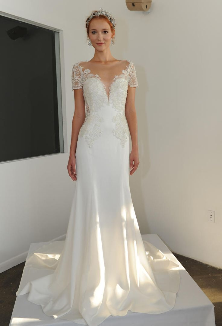 Marchesa Fall 2016 ornately embroidered ribbon work lace fitted wedding dress | https://www.theknot.com/content/marchesa-wedding-dresses-bridal-fashion-week-fall-2016