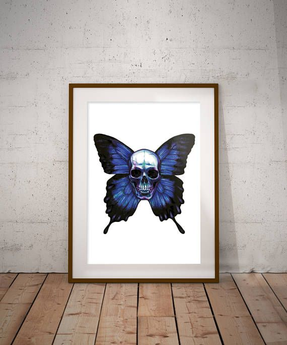 Skull with butterfly wings  Print. Made by Janne Ebbesdatter Lavogez. On sale at Etsy.com