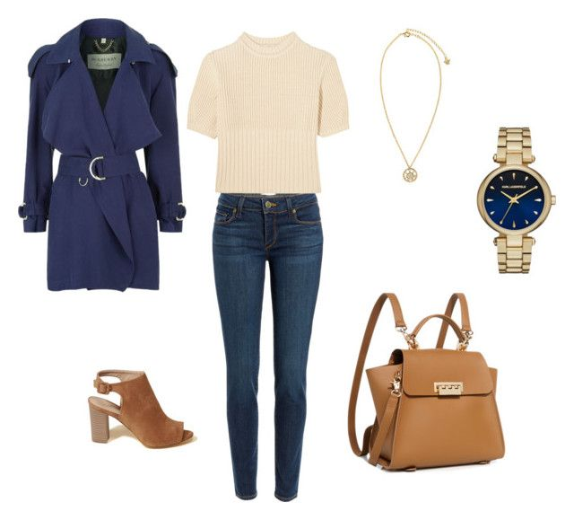 """""""Spring Outfit With Navy Trench Coat"""" by lisakay1 on Polyvore featuring Paige Denim, Totême, Burberry, Hollister Co., ZAC Zac Posen, Versace and Karl Lagerfeld"""