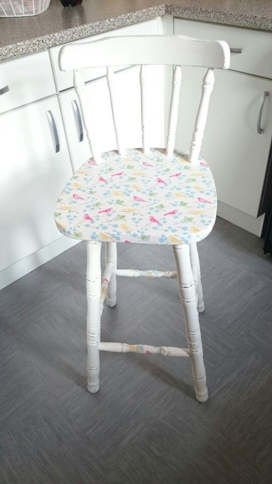 First attempt at decoupage on chair