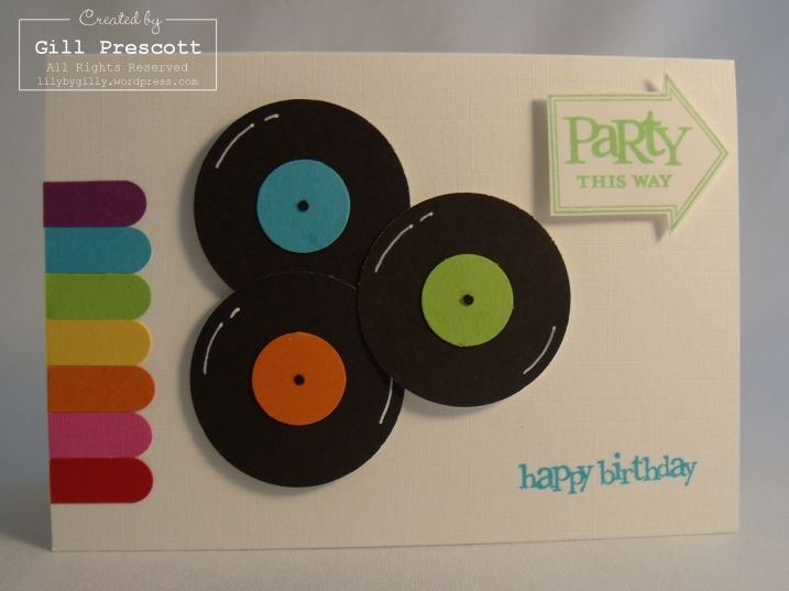 Vinyl Record retro birthday card - made using two sizes circle punches, and the word window punch for the colored tabs on the side