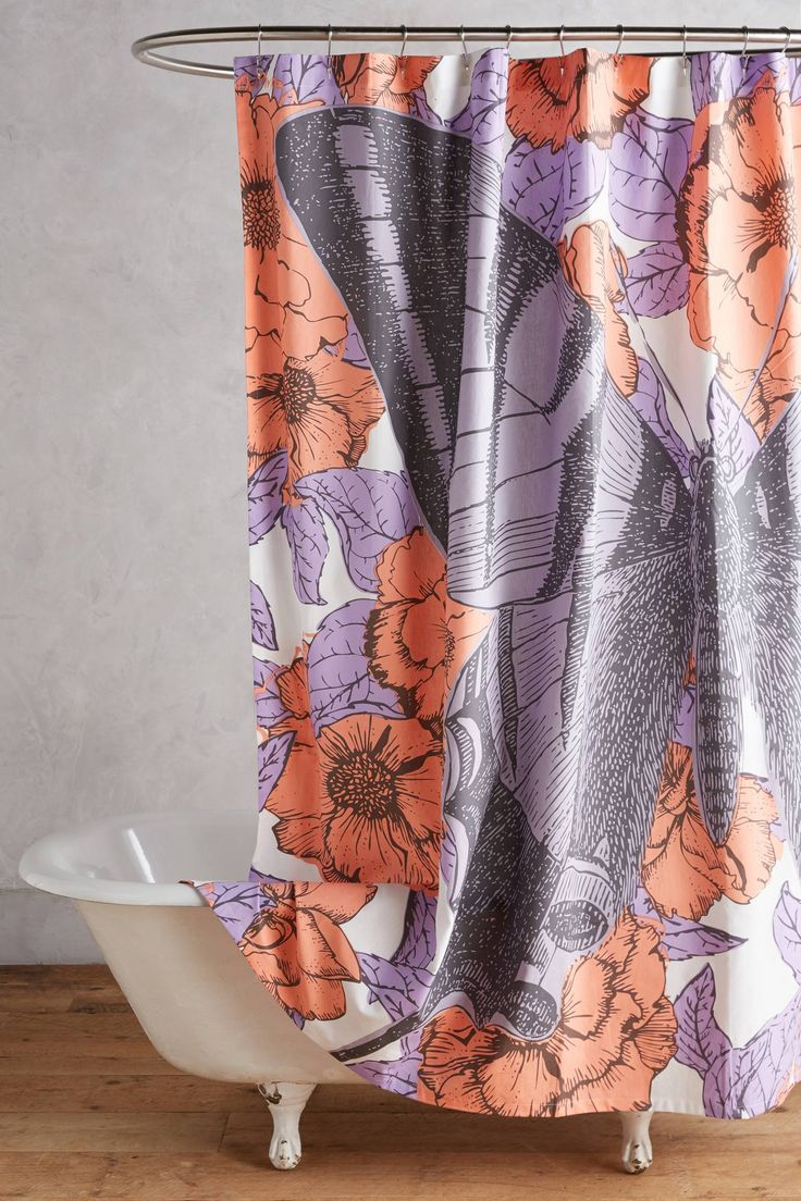 Purple butterfly curtains - Butterfly Shower Curtain