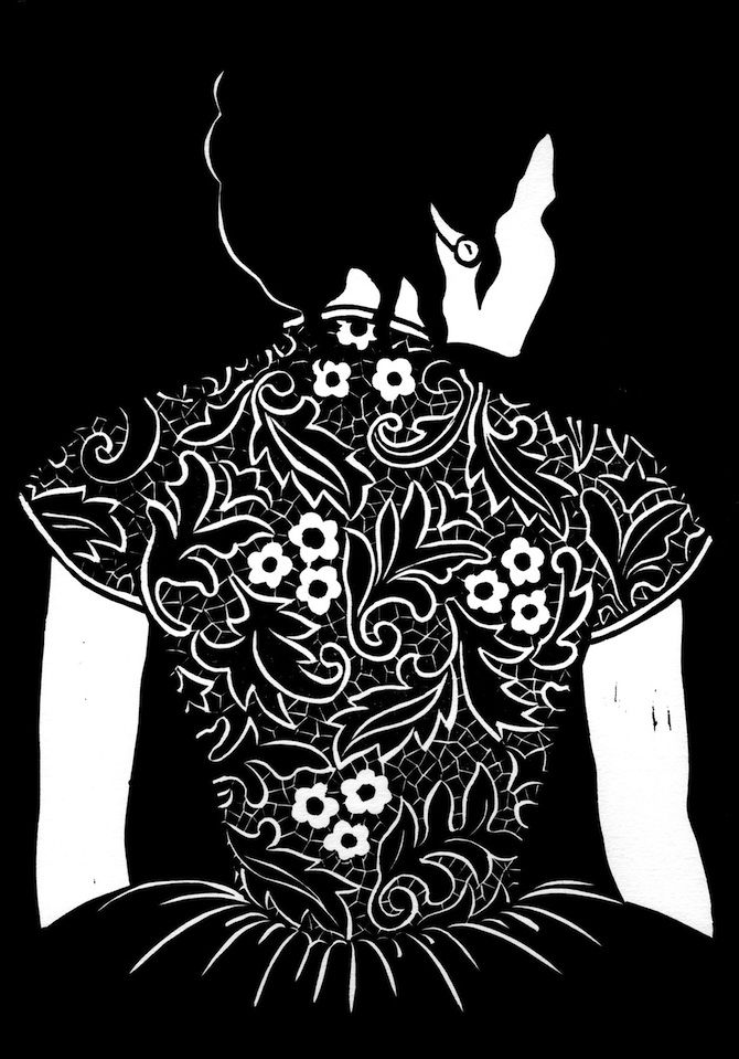 The Bodice, silk cut linoleum print by Maria Barbaro