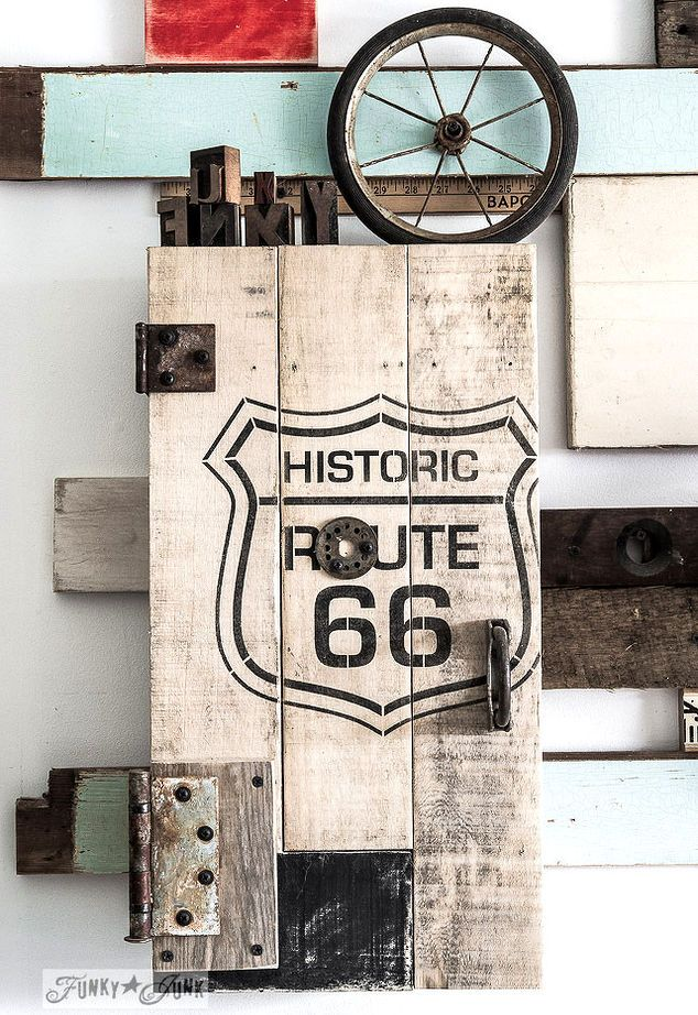 a route 66 styled pallet wood cupboard done easy, crafts, pallet, repurposing upcycling, woodworking projects