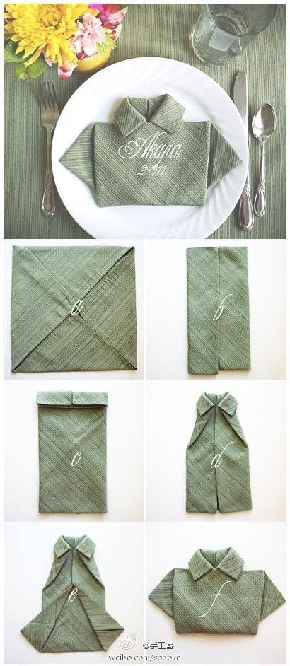 Napkin folding - *This is described in a foreign language; but hopefully the pictorial will explain how to fold*