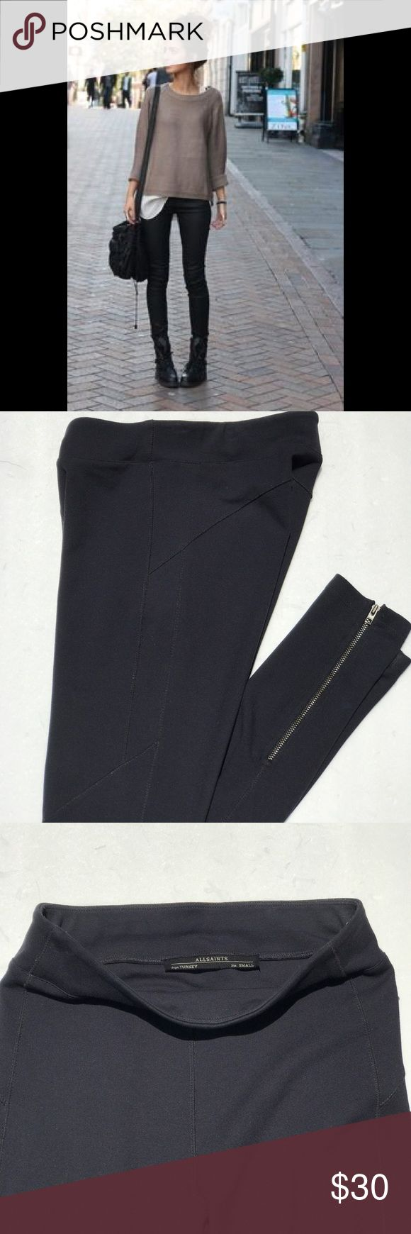 """Allsaints black leggings with ankle zip Good condition! (Model pic style purpose only) these leggings have zippers on ankles 31"""" inseam. Black. Spandex material All Saints Pants Leggings"""