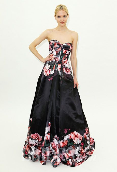 Brides.com: . Strapless black floral A-line special occasion dress with a sweetheart neckline, Truly Zac Posen