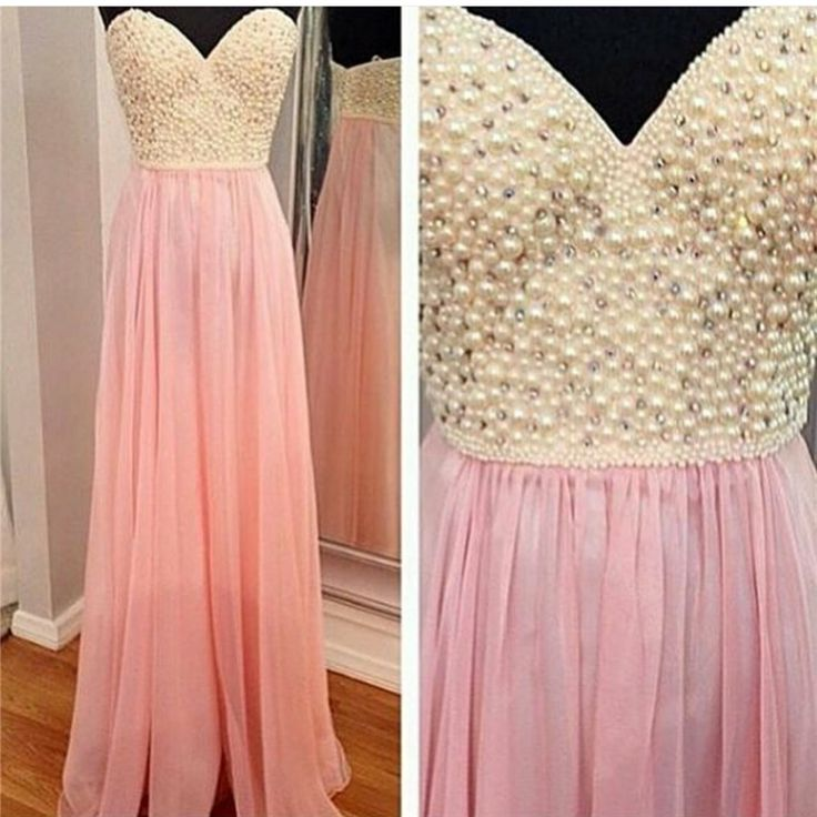 ==> [Free Shipping] Buy Best 2017 New Pink Prom Dress Floor Length Sweetheart Chiffon A-Line Cheap Formal Gowns High Quality pink prom dress Pearls Charming Online with LOWEST Price | 32789172248