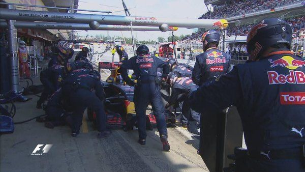 danielricciardo dives into the pits for a fresh set of mediums #SpanishGP