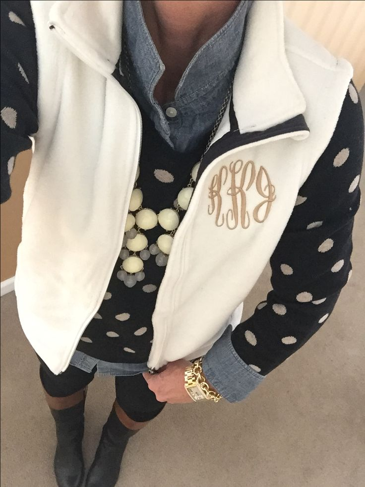 Fashion Over 40:  Polka Dots:  Old Navy sweater, chambray, Marley Lilly Monogram Vest, J Crew Bubble Necklace, Etienne Aigner Chip Boots, Michael Kors Watch, J Crew Factory Bracelet