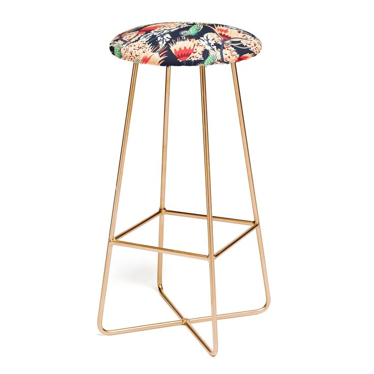 Deny Designs Holli Zollinger Boheme Butterfly Bar Stool, Red (Faux Leather)