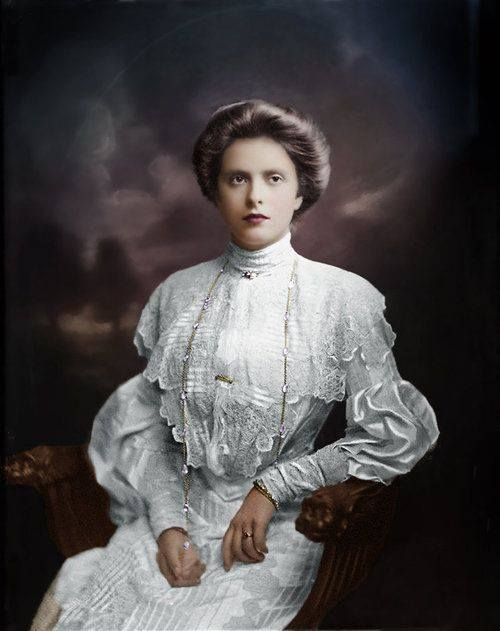 Princess Alice of Battenberg, 1903, colourized photo. Princess Alice was a great-granddaughter of Queen Victoria, and the mother of Prince Philip, the Queen's husband.