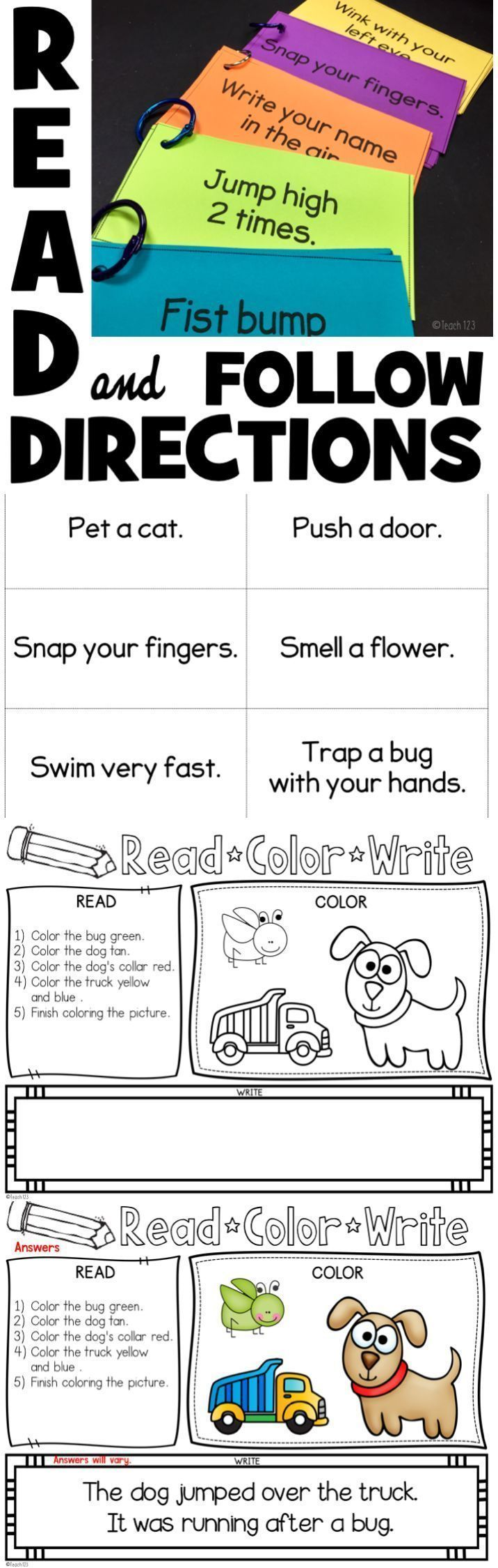 FREE Read & Follow Directions Activity & printable. Fun activity to get  your students moving