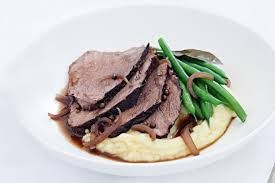 Slow Cooked Beef with Red Wine and Peppercorn Sauce